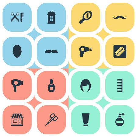 Vector illustratie Set van eenvoudige schoonheidsspecialist pictogrammen. Elementen Reflector, droogmachine, scheerapparaat en andere synoniemen Snor, reflector en vrouw. Stock Illustratie