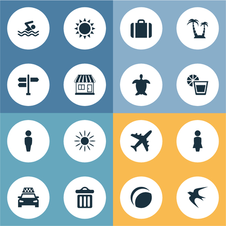 Vector Illustration Set Of Simple Seaside Icons. Elements Store, Swimming Man, Taxi And Other Synonyms Garbage, Seagull And Trash. Illustration