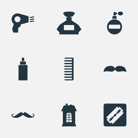 Vector Illustration Set Of Simple Barber Icons. Elements Shaver, Scent, Aroma And Other Synonyms Bottle, Aroma And Odor. Ilustração