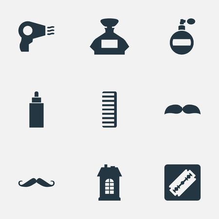 Vectorillustratiereeks Eenvoudige Kapperpictogrammen. Elementen scheerapparaat, geur, aroma en andere synoniemenfles, aroma en geur. Stock Illustratie