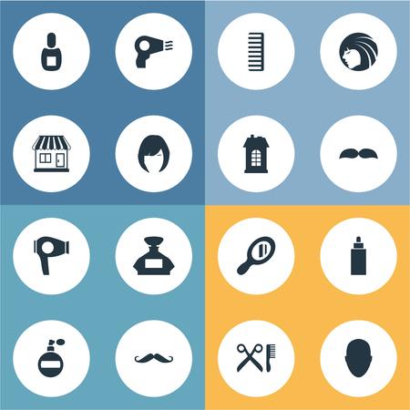 Vector illustratie Set van eenvoudige kapper pictogrammen. Elementen Reflector, supermarkt, föhn en andere synoniemen gebouw, dame en snorharen.