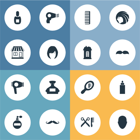 Vector Illustration Set Of Simple Hairdresser Icons. Elements Reflector, Supermarket, Blow Dryer And Other Synonyms Building, Lady And Whiskers. Ilustracja