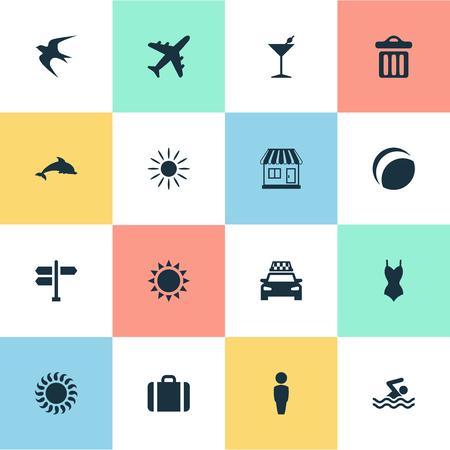 単純な海辺のアイコンのベクトル イラスト セット。要素のビキニ、タクシー、太陽と他の類義語のビーチ パーティー、熱い。  イラスト・ベクター素材