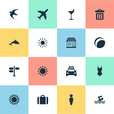 Vector Illustration Set Of Simple Seaside Icons. Elements Bikini, Taxi, Sun And Other Synonyms Beach, Party And Hot. Illustration