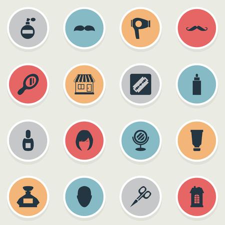Vector illustratie Set van eenvoudige schoonheidsspecialist pictogrammen. Elementen supermarkt, snijgereedschap, menselijke en andere synoniemengeur, drogen en snorharen.