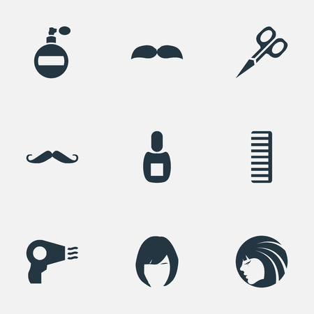 Vector Illustration Set Of Simple Beautician Icons. Elements Whiskers, Cut Tool, Hackle And Other Synonyms Beard, Whiskers And Flask.