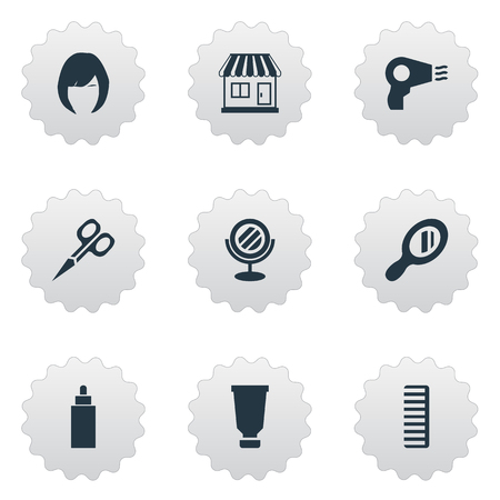 Vector Illustration Set Of Simple Barber Icons. Elements Reflector, Peeper, Cut Tool And Other Synonyms Supermarket, Looking-Glass And Hair.
