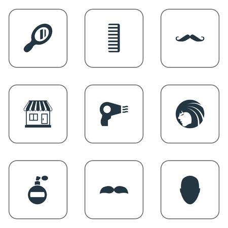 Vector illustratie Set van eenvoudige schoonheidsspecialist pictogrammen. Elementen Baard, mens, bakkebaarden en andere synoniemen Dame, snor en aroma.