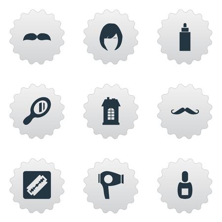 Illustration set of simple hairdresser icons. Illustration