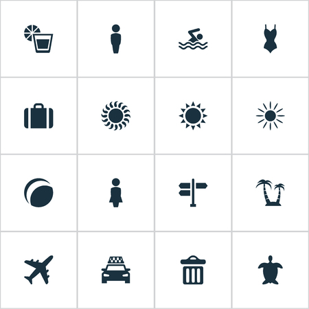 Vector Illustration Set Of Simple Seaside Icons. Elements Garbage, Swimming Man, Beach Games And Other Synonyms Trip, Hot And Trash.