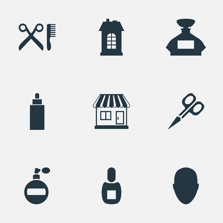 Vector Illustration Set Of Simple Hairdresser Icons. Elements Supermarket, Cut Tool, Flask And Other Synonyms Shop, Store And Building. Ilustrace