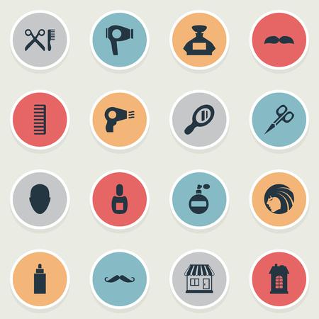 Vector illustratie Set van eenvoudige kapper pictogrammen. Elementencontainer, snijgereedschap, föhn en ander synoniemengereedschap, schaar en hoofd. Stock Illustratie