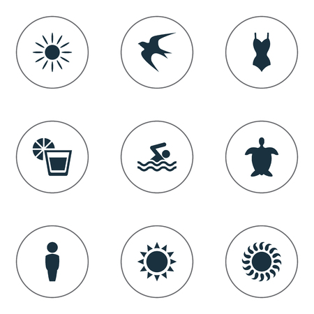 man flying: Vector Illustration Set Of Simple Seaside Icons. Elements Beverage, Swimming Man, Male And Other Synonyms Adventure, Beachwear And Bikini.