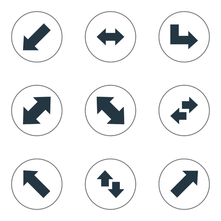 Vector Illustration Set Of Simple Indicator Icons. Elements Left-Down, Left-Right, Pointer And Other Synonyms Down Left Pointing, Down And Double.