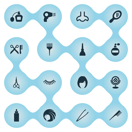 Vector Illustration Set Of Simple Beauty Icons. Elements Crest, Serum, Hairstyle And Other Synonyms Smell, Dry And Nails.