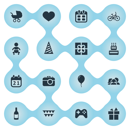 Vector Illustration Set Of Simple Holiday Icons. Elements Camera, Aerostat, Cap And Other Synonyms Party, Carriage And Sweetmeat. Imagens - 78530649