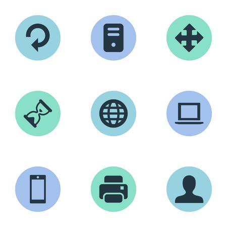 벡터 일러스트 레이 션 간단한 연습 아이콘의 집합입니다. 요소 화살표, 인쇄물, 모래 타이머 동의어 핸드폰, 스마트 폰 및 다시로드.