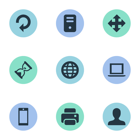 Vector Illustration Set Of Simple Practice Icons. Elements Arrows, Printout, Sand Timer Synonyms Cellphone, Smartphone And Reload.