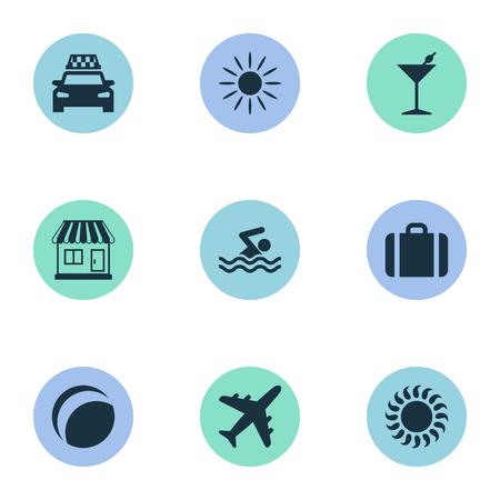 単純な海辺のアイコンのベクトル イラスト セット。要素のストア、ビーチゲーム、スーツケース、他類義語タクシー熱と飛行機。