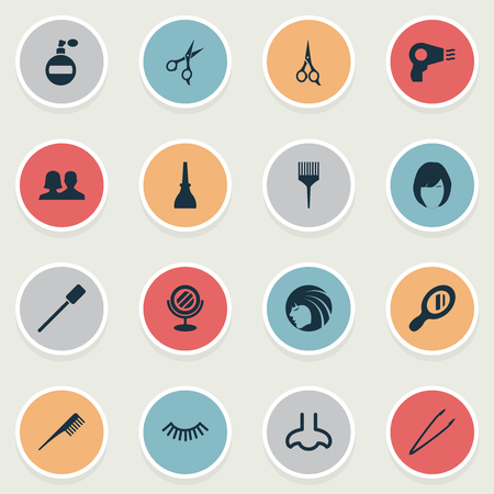 Vector Illustration Set Of Simple Spa Icons. Elements Pincers, Mascara, Blow Dryer And Other Synonyms Glass, Mirror And Fragrance. Illustration