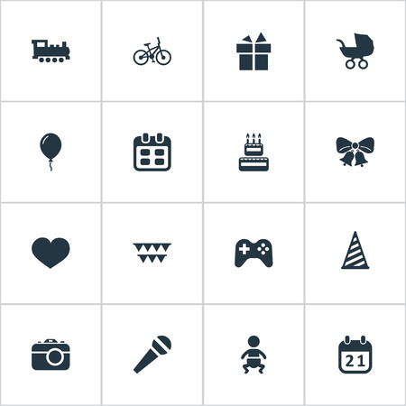 Vector Illustration Set Of Simple Celebration Icons. Elements Cap, Decorations;, Confectionery And Other Synonyms Steam, Sky And Kid. Illustration