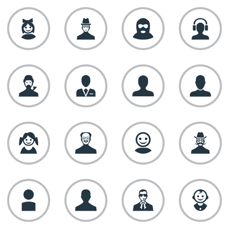 Vector Illustration Set Of Simple Avatar Icons. Elements Mysterious Man, Little Girl, Bodyguard And Other Synonyms Bodyguard, Daughter And Member. Illustration