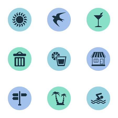 Vector Illustration Set Of Simple Seaside Icons. Elements Store, Swimming Man, Palm And Other Synonyms Swimming, Party And Bar. 向量圖像