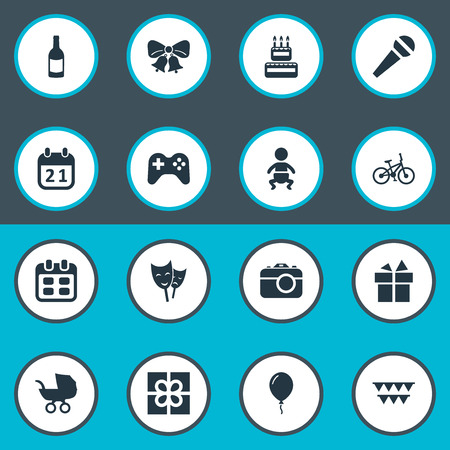 Vector Illustration Set Of Simple Celebration Icons. Elements Special Day, Box, Bicycle And Other Synonyms Balloon, Voice And Bells. Illustration