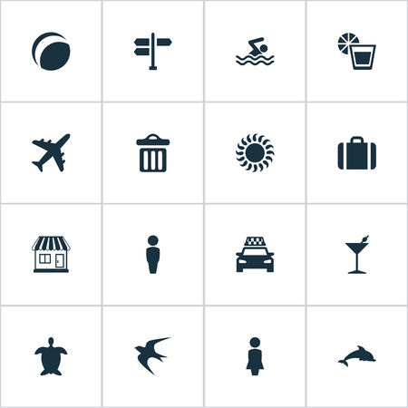 Vector Illustration Set Of Simple Beach Icons. Elements Woman, Taxi, Male And Other Synonyms Games, Lady And Seagull.