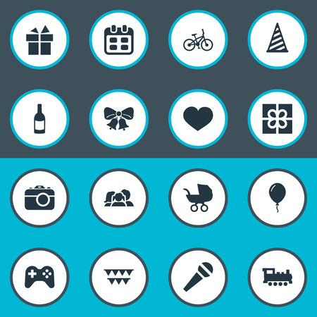 簡単なお祝いアイコンのベクター イラスト セット。要素] ボックス、装飾;、飲料および他の同義語に共鳴、自転車や装飾品。  イラスト・ベクター素材