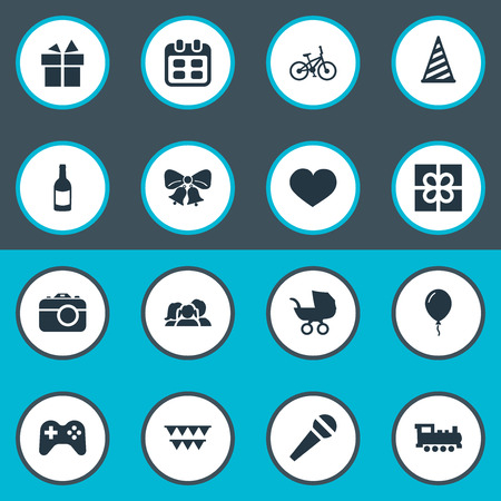 Vector Illustration Set Of Simple Celebration Icons. Elements Box, Decorations;, Beverage And Other Synonyms Resonate, Bike And Decorations.