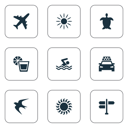Vector Illustration Set Of Simple Beach Icons. Elements Hot, Swimming Man, Beverage And Other Synonyms Direction, Lemonade And Turtle. Illustration