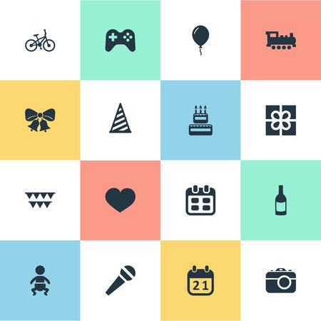 Vector illustratie Set van eenvoudige verjaardag iconen. Elementen Aerostaat, Camera, Resonaat en Andere Synoniemen Cap, Resoneren en Cake.