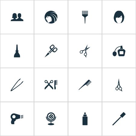 Vector Illustration Set d'icônes de beauté simple. Éléments Sérum, Parfum, Brosse à cils et autres synonymes Cisailles, pinces et ciseaux.