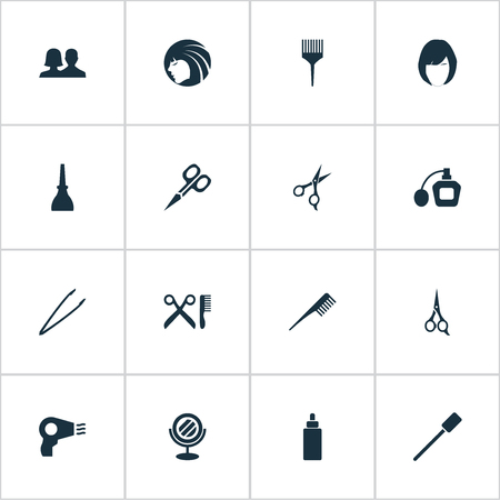 Vector Illustration Set Of Simple Beauty Icons. Elements Serum, Perfume, Eyelash Brush And Other Synonyms Shears, Tweezers And Scissors.