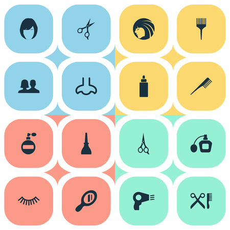 Vector Illustration Set Of Simple Spa Icons. Elements Blow Dryer, Crest, Comb And Other Synonyms Handle, Sence And Salon. Illustration