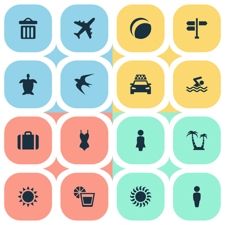 Vector Illustration Set Of Simple Seaside Icons. Elements Beach Games, Woman, Bikini And Other Synonyms Holiday, Woman And Summer.