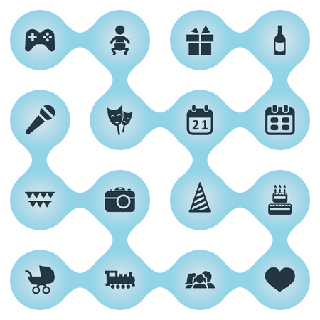 Vector Illustration Set Of Simple Birthday Icons. Elements Ribbon, Soul, Speech And Other Synonyms Train, Party And Domestic.
