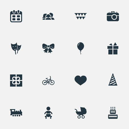 Vector Illustration Set Of Simple Holiday Icons. Elements Train, Resonate, Decorations; And Other Synonyms Photo, Aerostat And Balloon.