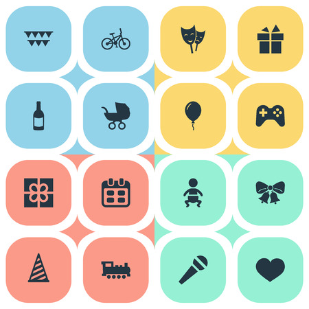 Vector Illustration Set Of Simple Celebration Icons. Elements Resonate, Ribbon, Baby Carriage And Other Synonyms Gift, Prize And Game.