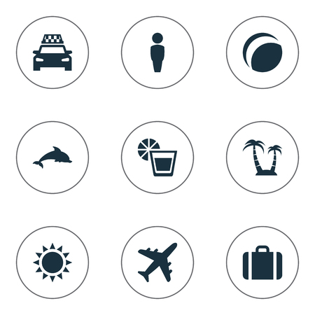 packet driver: Vector Illustration Set Of Simple Seaside Icons. Elements Beach Games, Suitcase, Palm And Other Synonyms Taxi, Male And Drink. Illustration