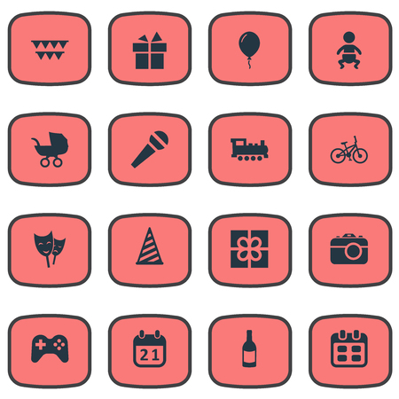Vector Illustration Set Of Simple Celebration Icons. Elements Game, Camera, Cap And Other Synonyms Microphone, History And Kid.