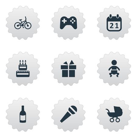 簡単なお祝いアイコンのベクター イラスト セット。要素音声、自転車、リボン、その他類義語声ベビーカーと赤ちゃん。