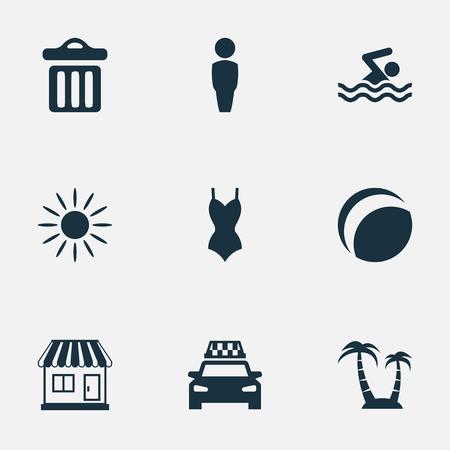 벡터 일러스트 레이 션 간단한 해변 아이콘 집합입니다. 요소 택시, 저장소, 쓰레기 및 다른 동의어 택시, 저장소 및 쓰레기 좀. 일러스트