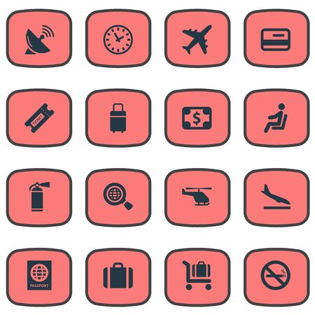 Vector Illustration Set Of Simple Transportation Icons. Elements Credit Card, Baggage Cart, Watch And Other Synonyms Landing, Cart And Certificate. Illustration