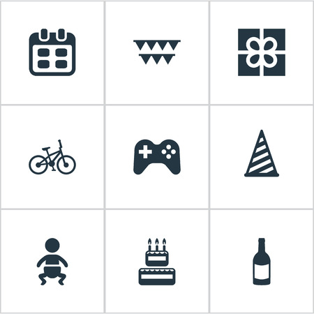 Vector Illustration Set Of Simple Holiday Icons. Elements Confectionery, Box, Bicycle And Other Synonyms Box, Party And Play.