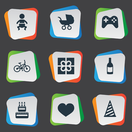 Vector Illustration Set Of Simple Holiday Icons. Elements Bicycle, Infant, Beverage And Other Synonyms Feelings, Play And Cake. Ilustração