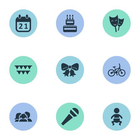 Illustration vectorielle Set d'icônes d'anniversaire simple. Éléments de résonance, discours, décorations; Et autres synonymes Discours, Sweetmeat And Voice. Banque d'images - 78567846