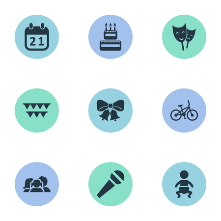 Vector Illustration Set Of Simple Birthday Icons. Elements Resonate, Speech, Decorations; And Other Synonyms Speech, Sweetmeat And Voice. Illustration