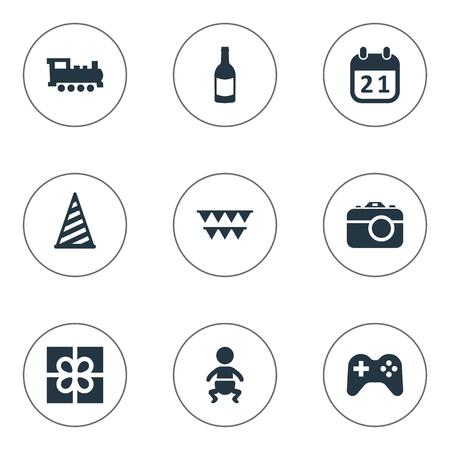 簡単なお祝いアイコンのベクター イラスト セット。要素キャップ、鉄道、ゲーム、他の同義語フィズ飲料とシャンパン。